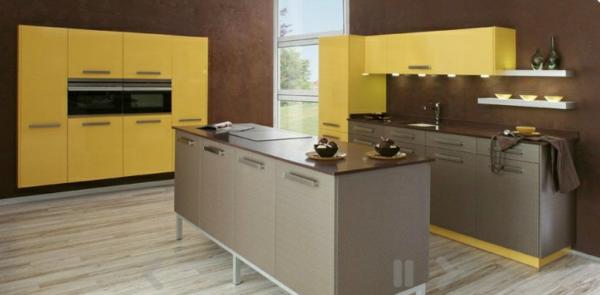 gelb modern küchen insel design idee
