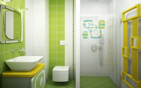 gelbe und blaue interieurs bad wc idee