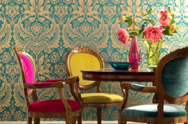 blau gelb farbe interieur esszimmer idee