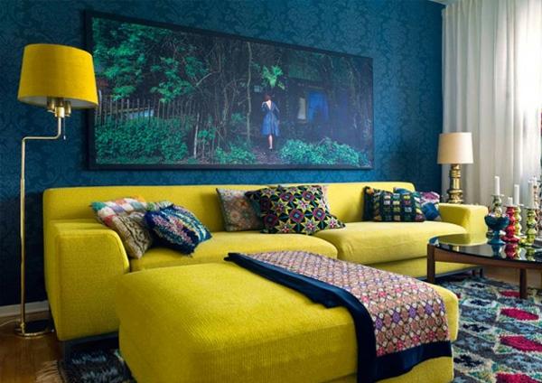 blau gelb farbe interieur gesättigt idee