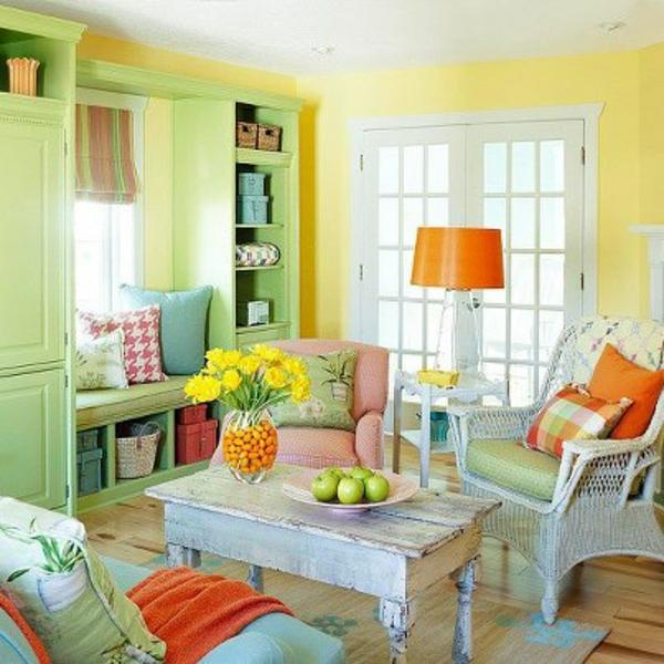 blau gelb farbe interieur grün akzent idee