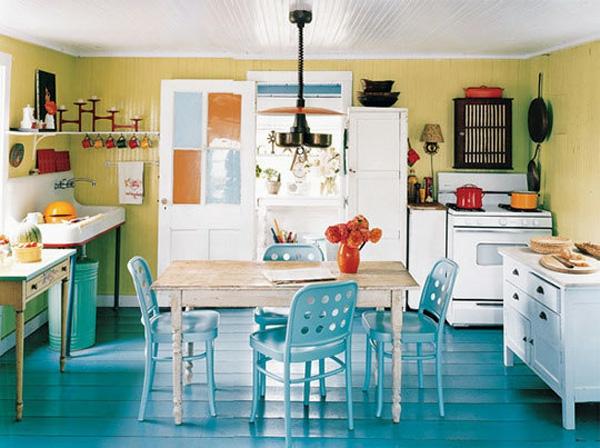 innendesign blau gelb farbe küche idee