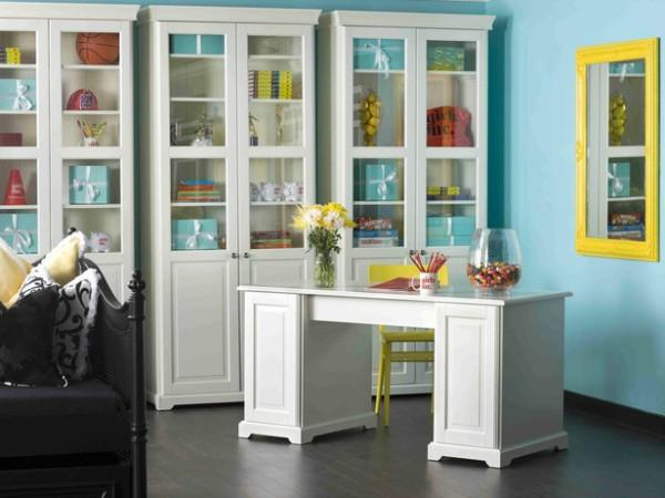Gelbe und blaue interieurs universale farbkombination in for Wohnung idee