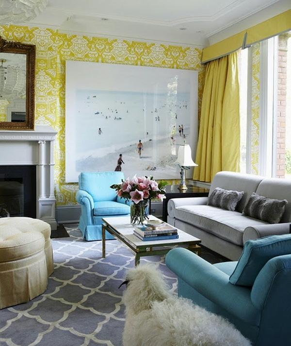 Gelbe Und Blaue Interieurs Universale Farbkombination In