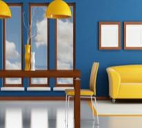 gelbe und blaue interieurs - universale farbkombination in der wohnung - Wohnzimmer Blau Gelb