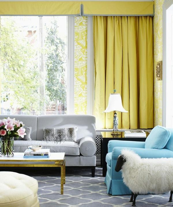 gelbe und blaue interieurs - universale farbkombination in der wohnung - Wohnzimmer Gelb Blau