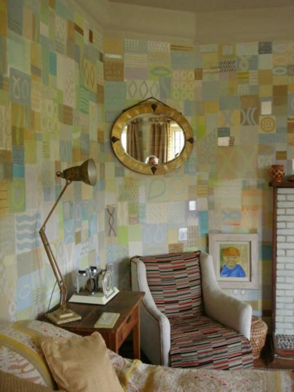 patchwork wanddekoration im schlafzimmer