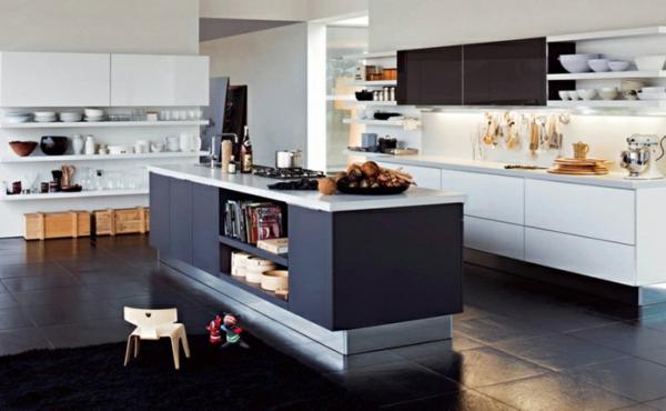 grau weiss kücheninsel idee design