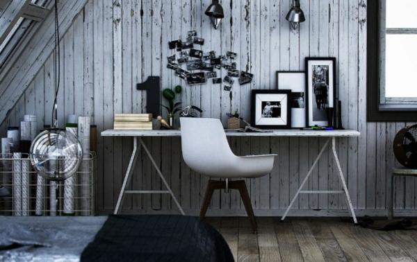 Arbeiten sie von zu Hause aus Interior Design Holzwände