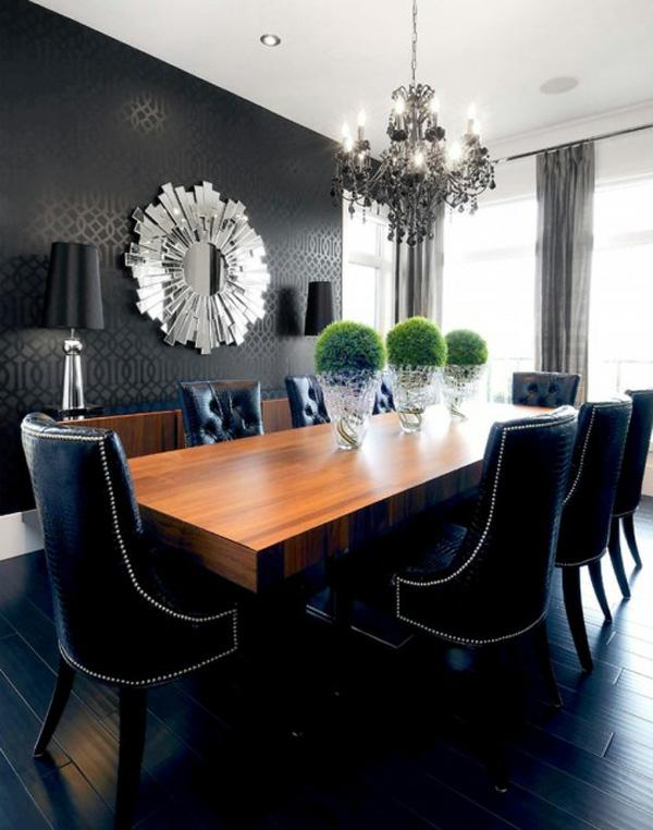 grosses esszimmer idee schwarze ausstattung wände design