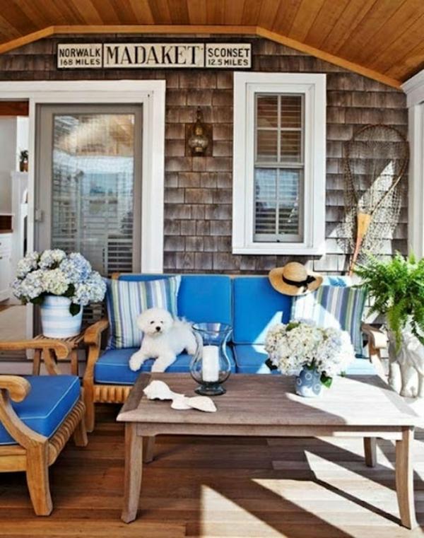 hund streifen kissen blau sessel patio party idee