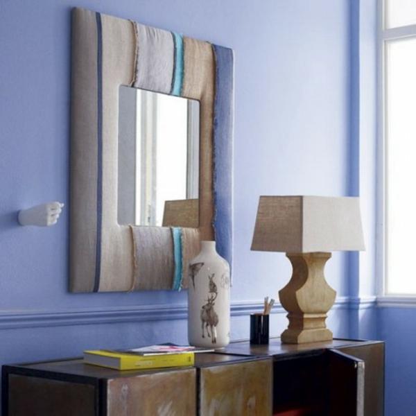 installation von spiegeln idee design hausflur blaue wand lila