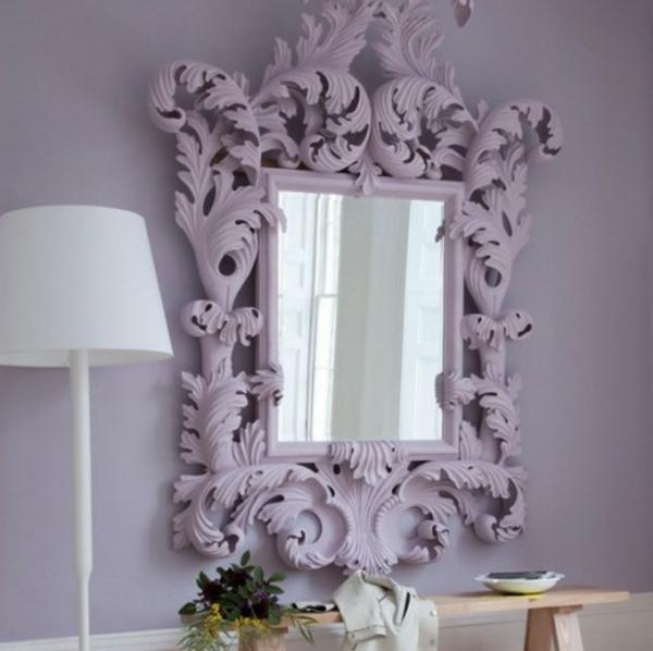 installation von spiegeln idee design hausflur lila motive