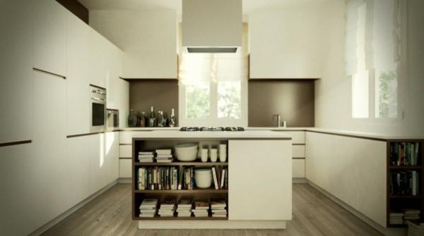 kücheninsel idee design bücherregale individualität