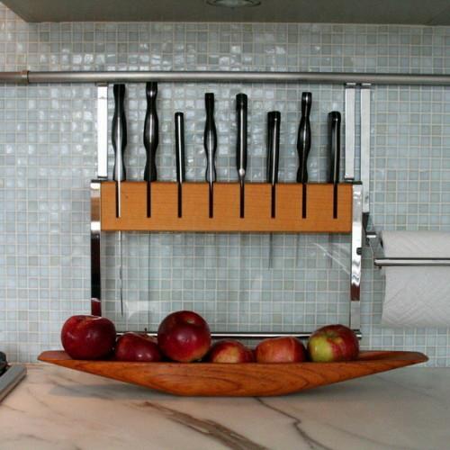 küchenschiene küchenmesser holz materialien äpfel