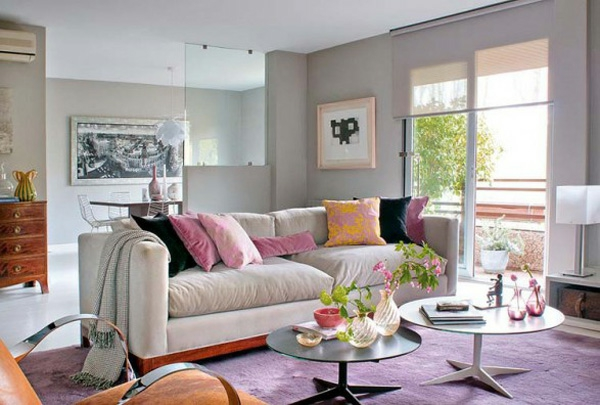 kastell motive kissen rosa lila interieur in pastels