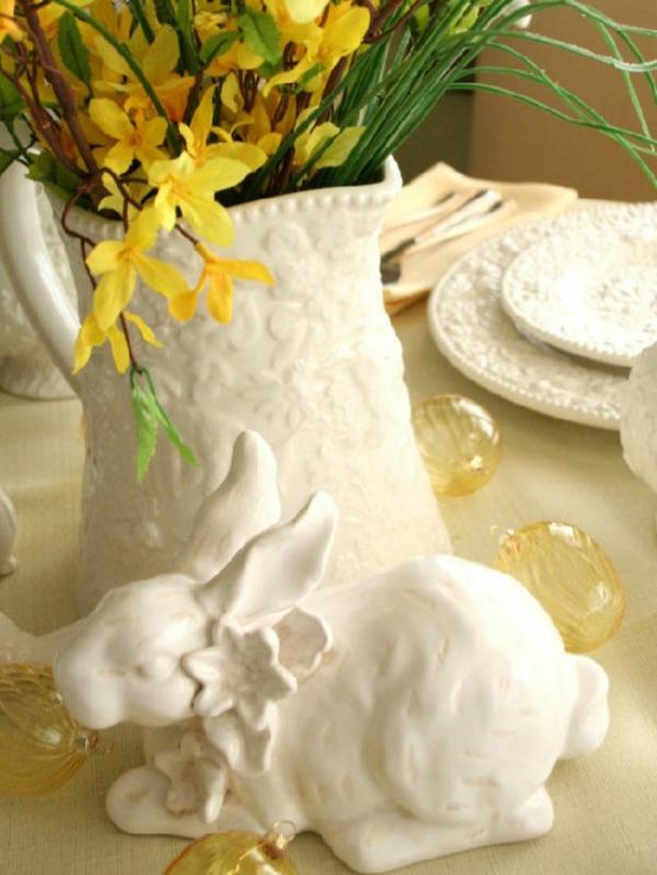 keramik kaninchen idee deko tisch fest feier ostern
