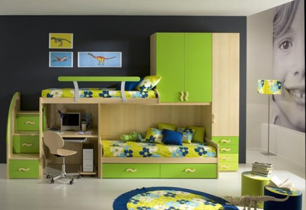 blaue und grüne innendesings - originelle, farbenreiche vorschläge - Kinderzimmer Grun Und Blau