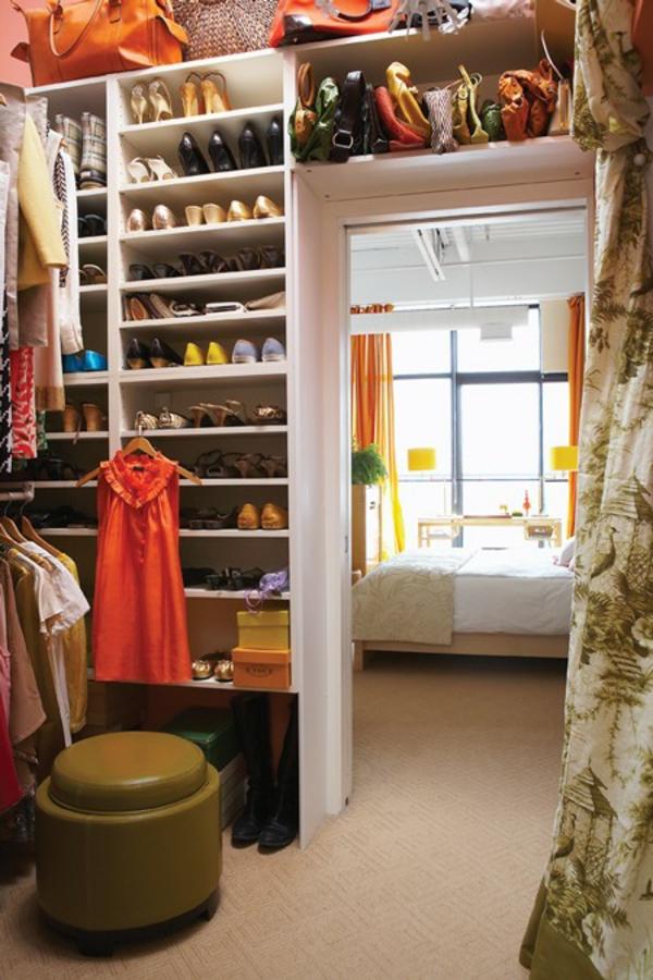 kleiderzimmer kreative aufbewahrungsplatz damentaschen