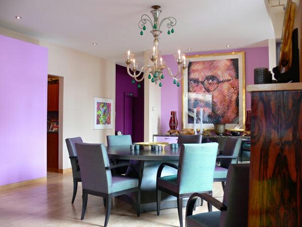 kombination farben blue und violet interieur
