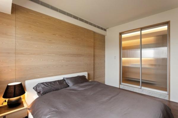 Kompakt Schlafzimmer Grau Braun Holztäfelung Design Idee Minimalistisch