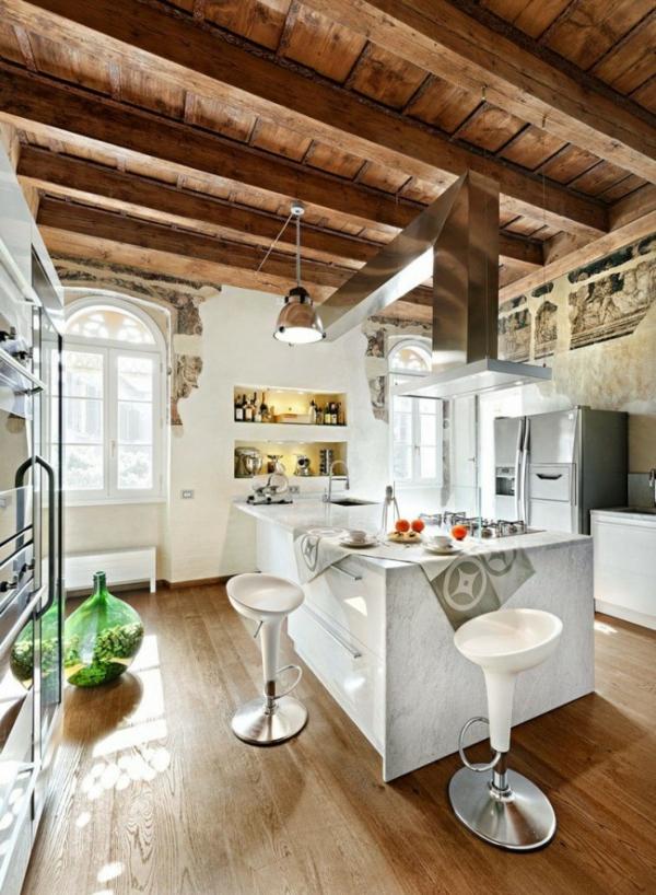ländlich küche insel holz dach weiss ausstattung einrichtung