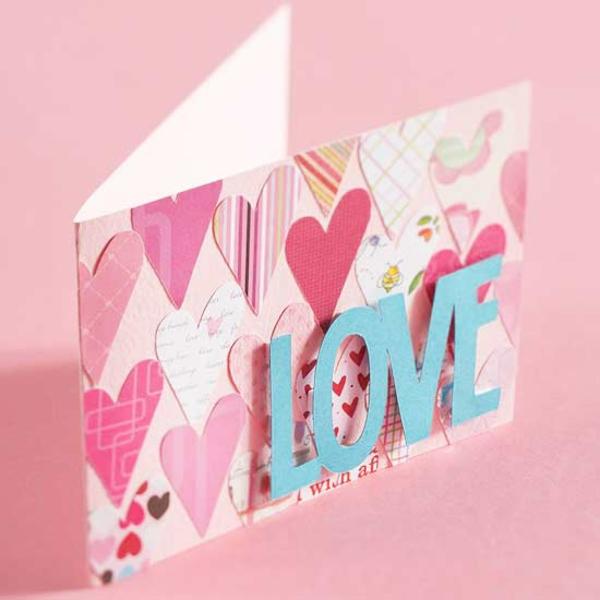 karte idee valentinstag rosa farbe