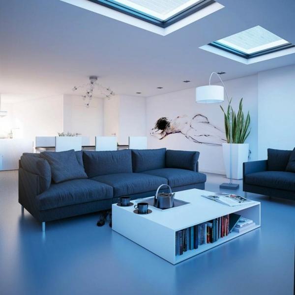 Wohnzimmer Dachfenster Weiss Schwarz