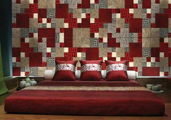 wanddekoration in patchwork stil in der wohnung