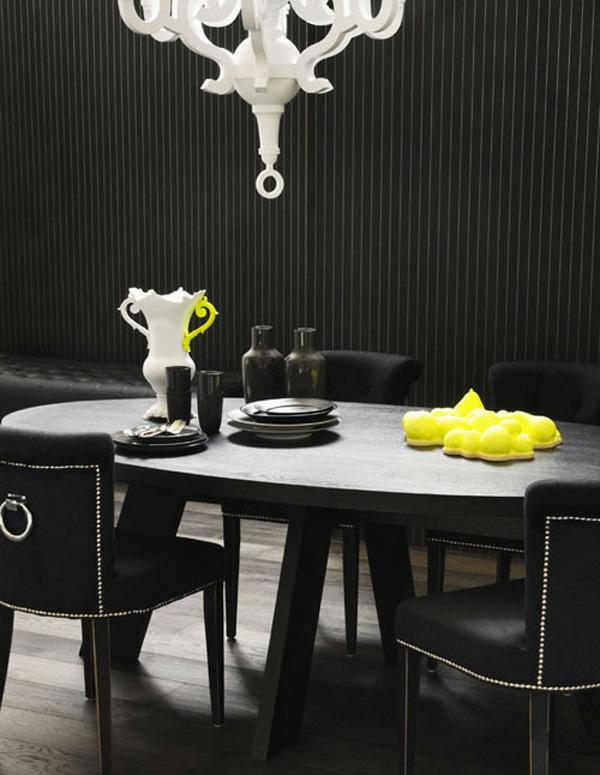 luxus schwarz esszimmer idee interieur design