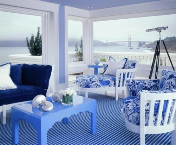 Wohnzimmer Wei Grau Blau - Wohndesign -