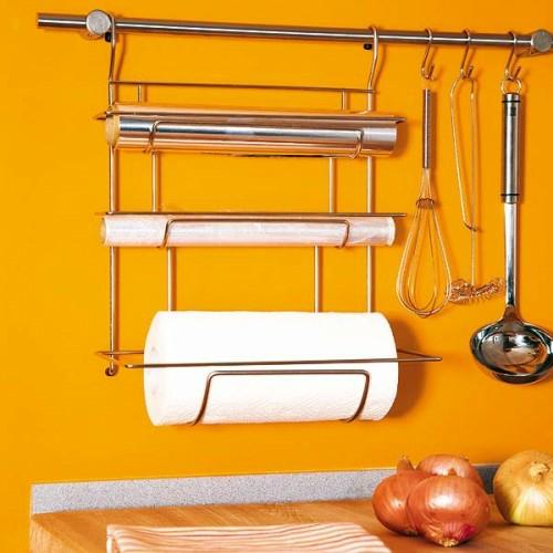metall küchenschiene küchenpapier gelb wand