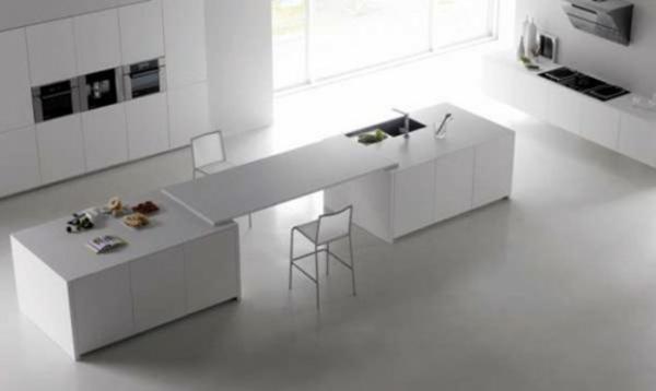 minimalistisch weiss küche essecke design wohnung