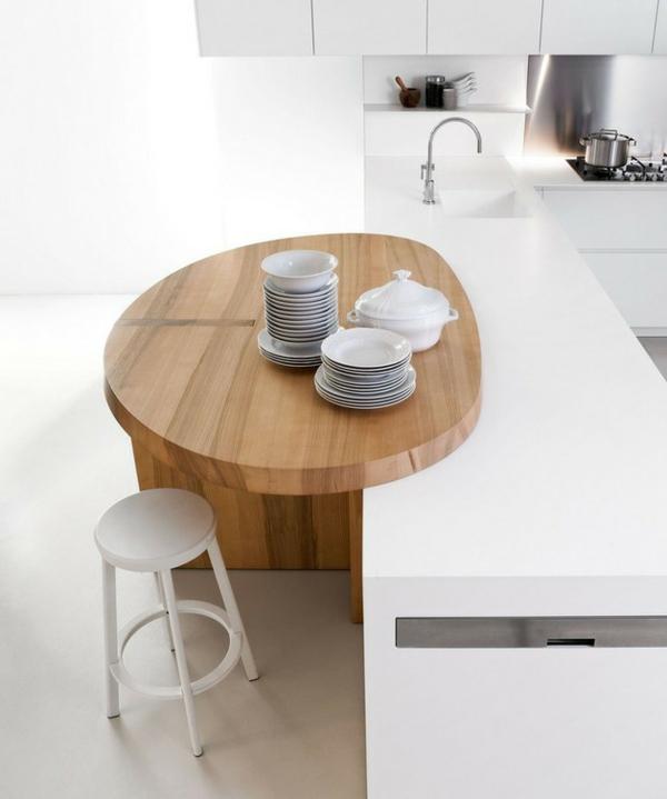 minimalistische weisse küche essecke holz elmar studio geschirr