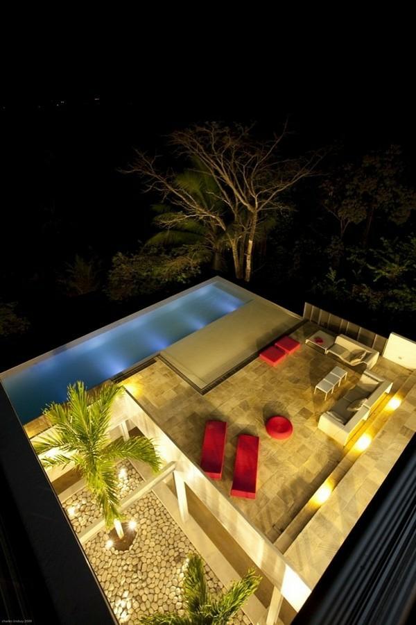 modern residenz idee design schwimmbecken rote ausstattung