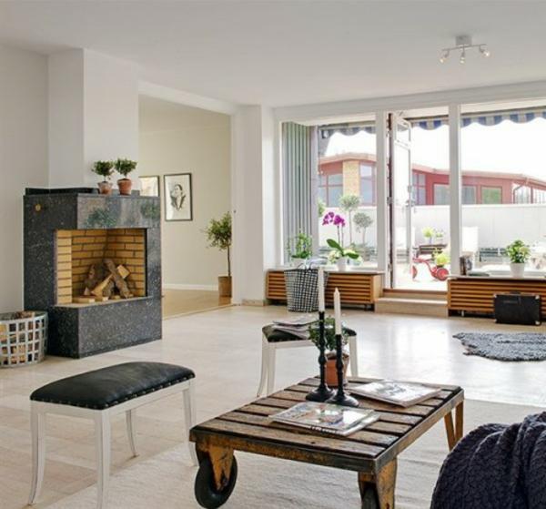wohnzimmer kamin alte holzbalken und steinwnde garantieren eine - Wohnzimmer Modern Mit Kamin