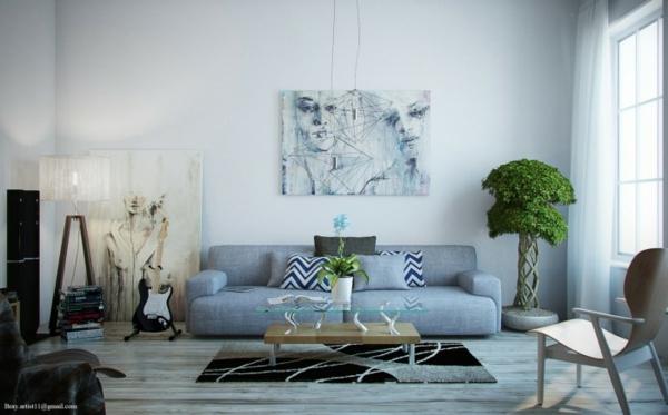 Wohnzimmer einrichten grau blau  Moderne Wohnzimmer - viel Licht und interessante Einrichtung