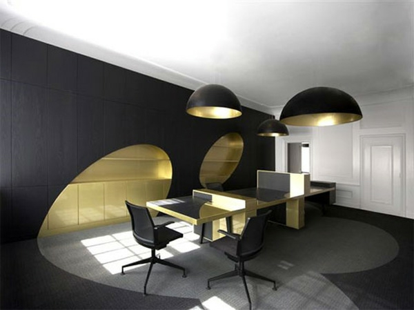 Office Interior Design Black and Gold