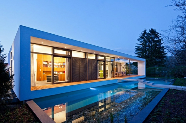 Moderne h user mit integrierten swimmingpools - Simple modern house architecture with minimalist rectangular design ...