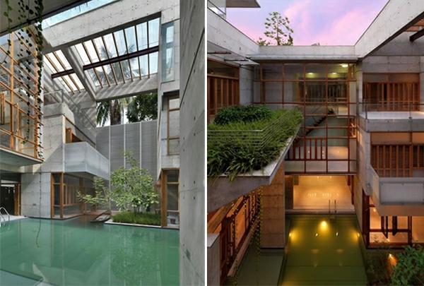 moderne h user mit integrierten swimmingpools. Black Bedroom Furniture Sets. Home Design Ideas