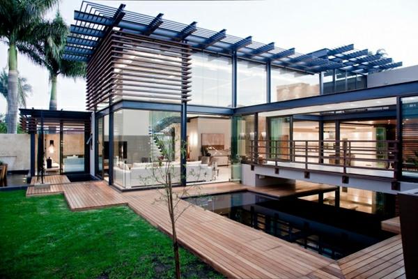 moderne häuser mit integrierten swimmingpools, Gartenarbeit ideen