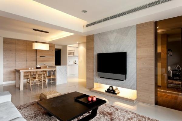 wohnzimmer deko natur:Moderne, minimalistische Deko Ideen – Holztäfelung, Flachbildschirm