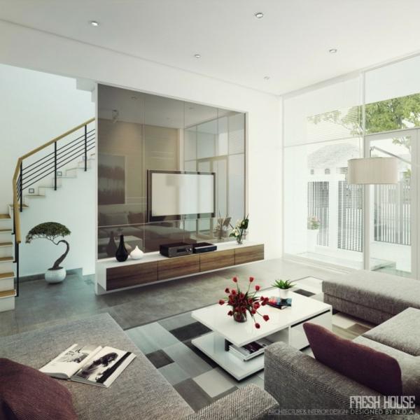 moderne wohnzimmer viel licht und interessante einrichtung. Black Bedroom Furniture Sets. Home Design Ideas