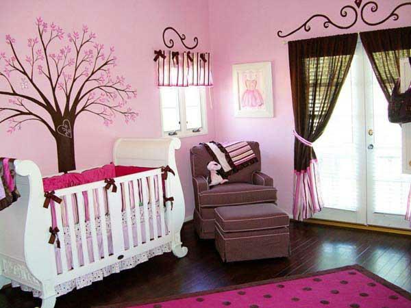 rosa farben idee design verspielte kinderzimmer baby