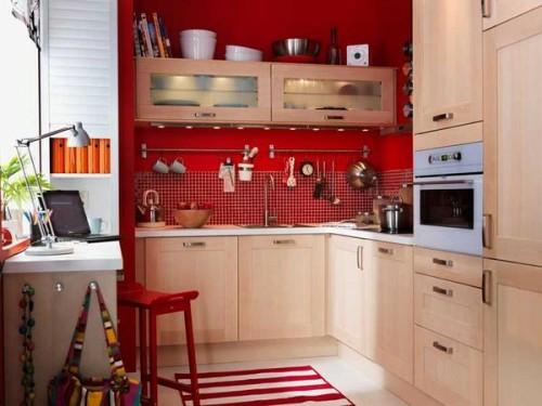 rote küchen wände idee ordnungsystem