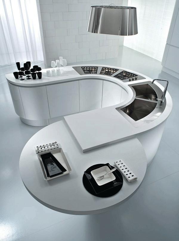 rundförmig küche insel design moder metall materialien
