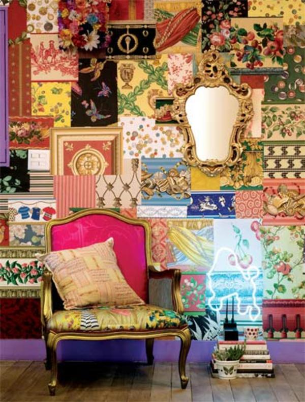 wanddekoration in patchwork stil in der wohnung