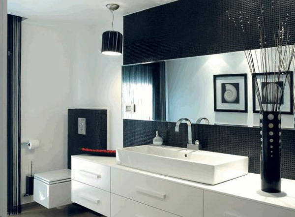 schwarze interieur design ideen bad