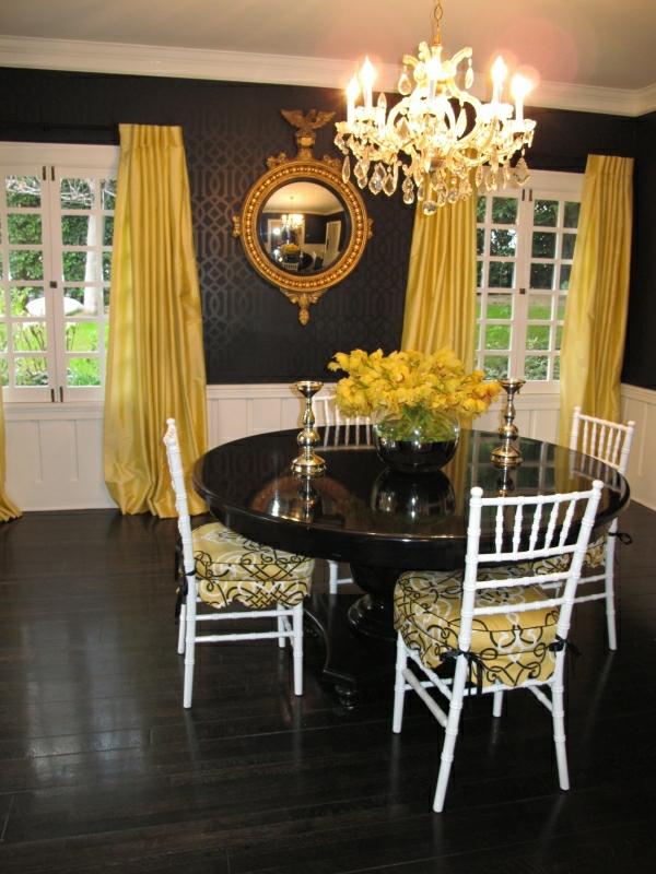gelbe motive schwarze innenwände interieur design