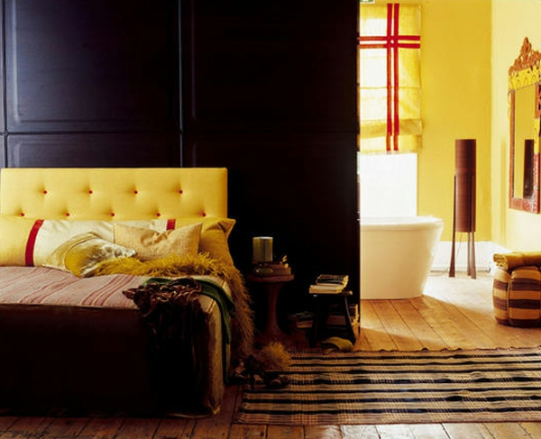 schwarze innenwände idee design gelbe elemente